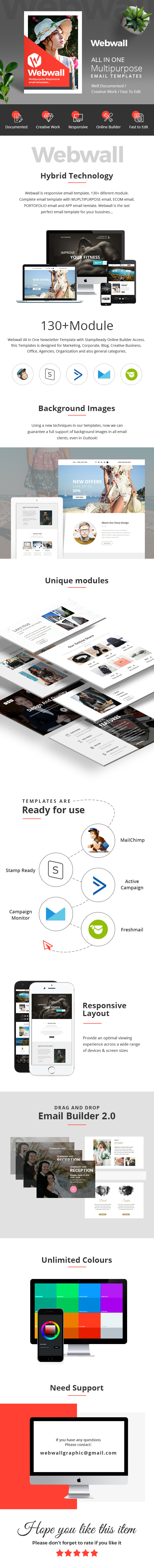 Webwall- 130+ Modules - Responsive Email Template + Builder - 1